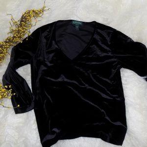 Ralph Lauren Black Velvet V Neck